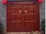 老榆木别墅庭院门 实木家装大门 松木包铜双开门