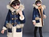 2015女童秋冬新款棉衣童装儿童棉服袄大童毛毛领牛仔棉外套保暖