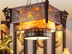 高档中式餐厅吊灯 仿古客厅羊皮灯复古酒店