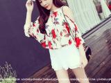 韩版女装2014夏季新款田园复古花朵宽松气质女士雪纺衫