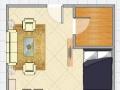 《明珠无虚假》高档家具家电出租纯南向精装一室金茂国际拎包入住