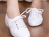 批发!春秋新款复古英伦系带真皮小白鞋平底鞋女护士鞋圆头平跟鞋