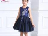 童畔蓝色女童连衣裙韩版新款夏公主无袖六一儿童演出服礼服裙