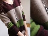 秋冬欧洲站女式羊绒衫中长款宽条纹套头毛衣韩版V领打底衫针织衫