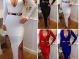 ebay经典爆款 欧美性感派对绷带礼服性感蓝色时尚连衣长裙