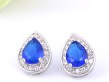 外贸原单奢侈品首饰  镶嵌蓝色水滴锆石耳钉 厂家直销 可定做饰品