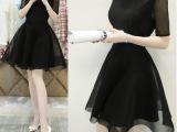 2015夏季新款短裙雪纺A字裙夏季新款韩版蕾丝网纱连衣裙子夏短袖