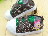 【新品快订】2014新品儿童帆布鞋批发韩国版可爱波点女童鞋中童鞋