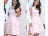 2014新款条纹女装连衣裙高圆圆angelababy明星同款蓬蓬