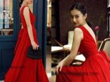 2014新款张辛苑同款露背大V领性感长裙连衣裙红色礼服女 一件代