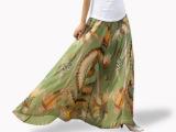 外贸原单 超长大摆波西米亚半身裙长裙雪纺裙拖地长裙两穿连衣裙