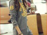丹尼度春装新品韩版大码女装 带帽字母套头百搭加绒长款卫衣绒衫