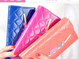 2015新款韩版时尚女士钱包亮皮手拿包菱格零钱包厂家直销地摊货源