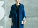 2014厂家直销 高端大气手工缝制双面女士羊绒大衣 领子不对称外套