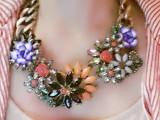 重磅推荐ZA*A 专柜同款夸张缤纷花朵 欧美复古宝石项链 项饰批