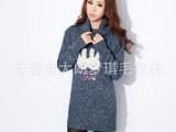 时尚韩版高翻领女式毛衣可爱卡通图案设计 时尚百搭厂价批发