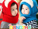 韩版冬季儿童帽子 毛绒小狗宝宝连体毛线加绒帽子