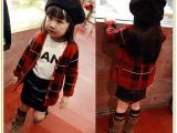 2015秋冬季新款格子毛衣外套儿童针织开衫女童装英伦毛衣外套上衣