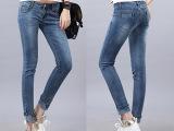 女式九分牛仔裤新款韩版时尚修身铅笔裤弹力骷髅头女士小脚牛仔裤