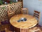 厂家定做碳化木火锅餐桌,实木餐桌,长凳,短等,实木椅子,铁