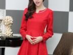 女装新款正品2014韩版女装V领修身晚礼服连衣裙(配链子)HM1710