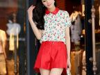 2014夏季新品休闲套装韩版修身时尚娃娃领短袖印花打底小衫两件套