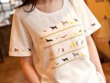 日系文艺复古手工串珠小狗印花宽松圆领女式短袖t恤