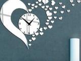 亚克力镜面钟表 DIY静音钟 爱心立体墙贴 创意亚克力挂钟爱心Z