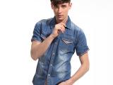 夏牛仔短袖衬衣 韩版修身牛仔衬衫 男士短袖衬衫潮