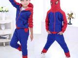 蜘蛛侠图案2015新款中大童装连帽卫衣套装  时尚运动套装一件代