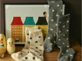 进口婴儿宝宝中筒袜 原装纯棉星星满天图案宝宝袜 女 韩国代购