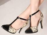 批发一件代发代理韩版尖头蛇纹复古高跟单鞋女鞋子