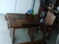 定制防腐木连体桌椅碳化木坐凳公园石桌椅花园秋千摇椅