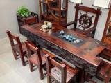肇庆老船木茶桌椅组合复古简约茶室家具原生态厚重实木茶台船木吧台