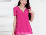 2014装韩版修身大码品质清凉雪纺衫短袖上衣衬衫短袖衬衣