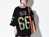2014韩国范夏新款原宿风迷彩印花宽松BF风圆领短袖T恤