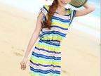 2014新款修身波西米亚雪纺连衣裙女装条纹雪纺连衣裙 沙滩裙