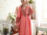 厂家直销2014秋季女士提花长款背心长袖两件蕾丝花边睡衣套装睡袍