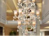 奢华别墅复式楼梯灯长吊灯欧式客厅树脂灯饰创意客厅水晶艺术灯具