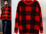 韩国代购东大门 格纹海马绒针织毛衫 中长款 加厚宽松毛衣批发 女