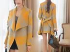 2014秋冬新款韩版修身女毛呢外套大格子小香风羊毛呢大衣