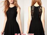 经典小黑裙拼接经典大气收腰蕾丝收腰显瘦欧美连衣裙