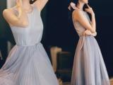 2014新款夏装连衣裙 韩版夏季无袖长裙百褶修身长款公主裙连衣裙