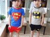 2014韩版童装 儿童夏装超人蝙蝠侠短袖+短裤+披风男童三件套装