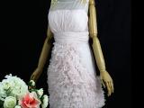 花林里结婚新娘婚礼伴娘主持人小礼服裙粉色短款连衣裙敬酒服