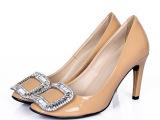 2014春季新款潮女鞋 欧洲站浅口细跟高跟鞋 真皮女式品牌外贸单