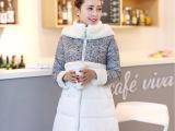 2014秋冬新款羽绒服 女款韩版A字中长款羊羔毛拼接羽绒棉服外套