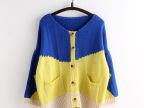 2015春装 韩版撞色宽松小蝙蝠袖针织开衫 毛衣外套 女 M1290