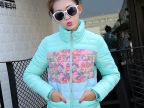2015韩版修身显瘦羽绒棉服女式短款大码印花拼接保暖外套立领棉衣