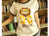 2014新款夏装日系文艺小清新田园卡通小狮子碎花文艺范短袖t恤